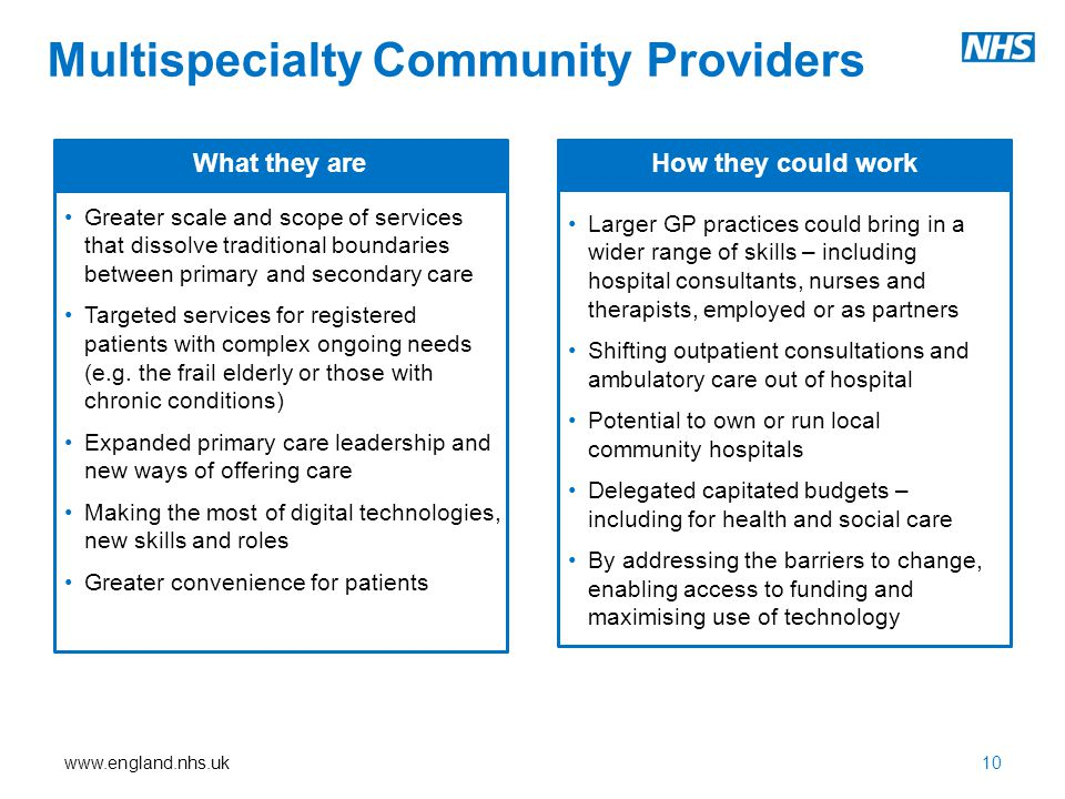 www.england.nhs.uk10 Greater scale and scope of services that dissolve traditional boundaries between primary and secondary care Targeted services for registered patients with complex ongoing needs (e.g.