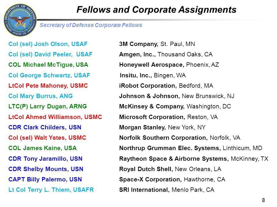 Secretary of Defense Corporate Fellows Corporate Sponsor Locations 9