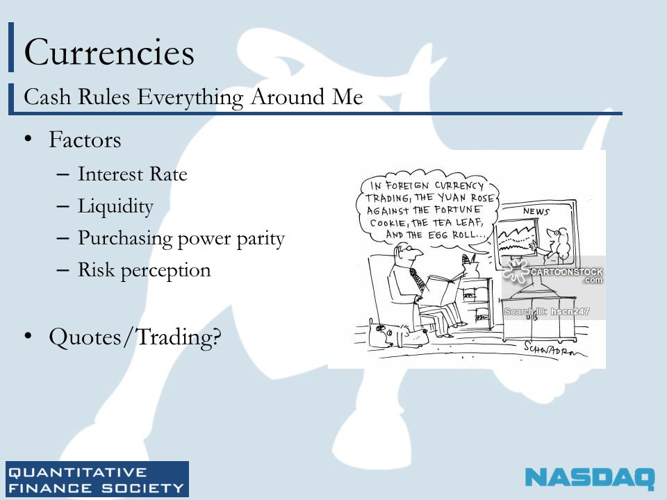 Currencies Factors – Interest Rate – Liquidity – Purchasing power parity – Risk perception Quotes/Trading.