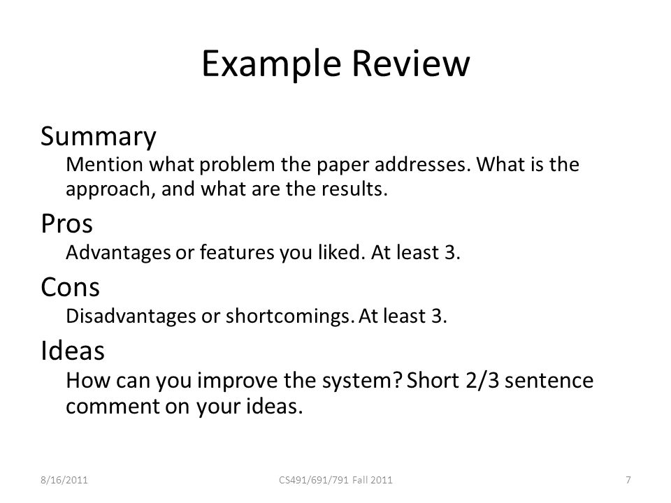 Example Review Summary Mention what problem the paper addresses.