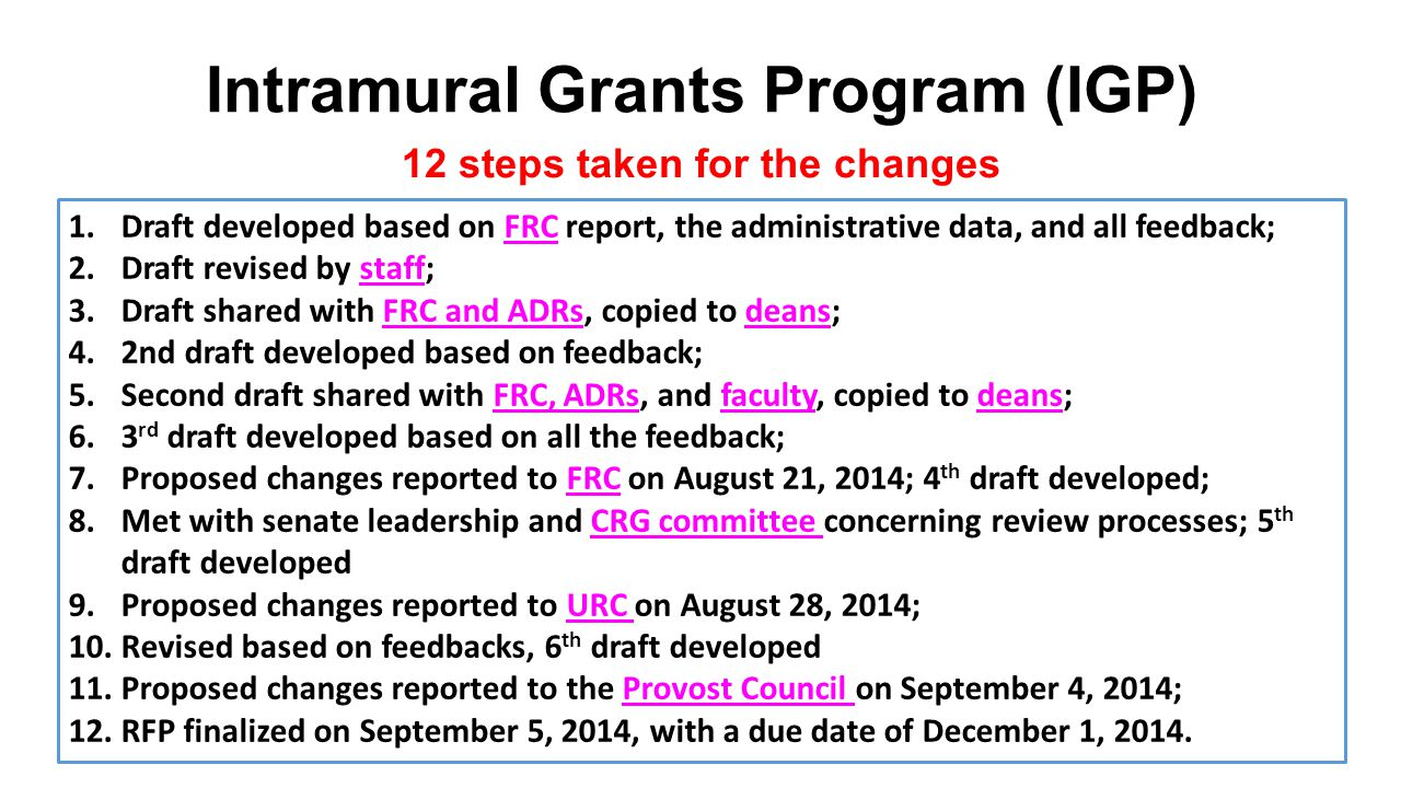 Intramural Grants Program (IGP) 12 steps taken for the changes 1.Draft developed based on FRC report, the administrative data, and all feedback; 2.Draft revised by staff; 3.Draft shared with FRC and ADRs, copied to deans; 4.2nd draft developed based on feedback; 5.Second draft shared with FRC, ADRs, and faculty, copied to deans; 6.3 rd draft developed based on all the feedback; 7.Proposed changes reported to FRC on August 21, 2014; 4 th draft developed; 8.Met with senate leadership and CRG committee concerning review processes; 5 th draft developed 9.Proposed changes reported to URC on August 28, 2014; 10.Revised based on feedbacks, 6 th draft developed 11.Proposed changes reported to the Provost Council on September 4, 2014; 12.RFP finalized on September 5, 2014, with a due date of December 1, 2014.