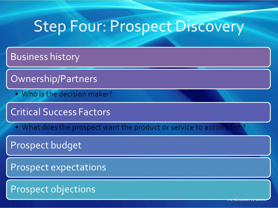 Step Four: Prospect Discovery Business historyOwnership/Partners Who is the decision maker? Critical Success Factors What does the prospect want the p