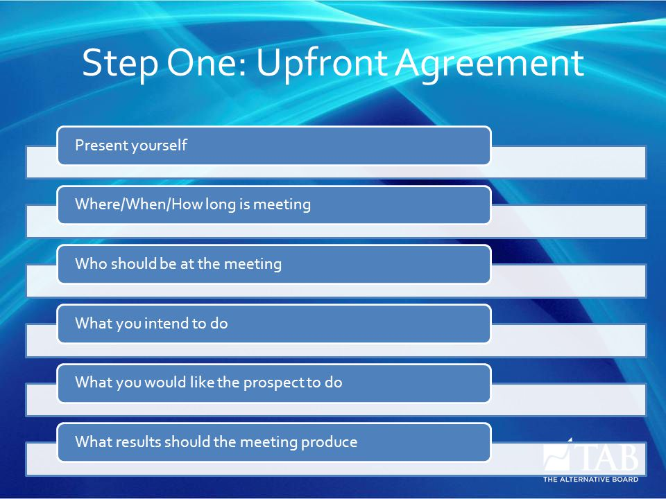 Step One: Upfront Agreement Present yourselfWhere/When/How long is meetingWho should be at the meetingWhat you intend to doWhat you would like the prospect to doWhat results should the meeting produce