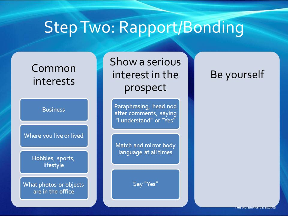 Step Two: Rapport/Bonding Common interests BusinessWhere you live or lived Hobbies, sports, lifestyle What photos or objects are in the office Show a
