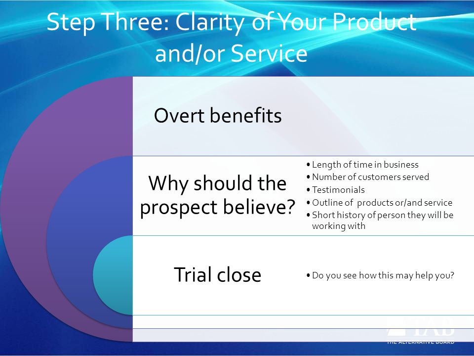 Step Three: Clarity of Your Product and/or Service Overt benefits Why should the prospect believe? Trial close Length of time in business Number of cu
