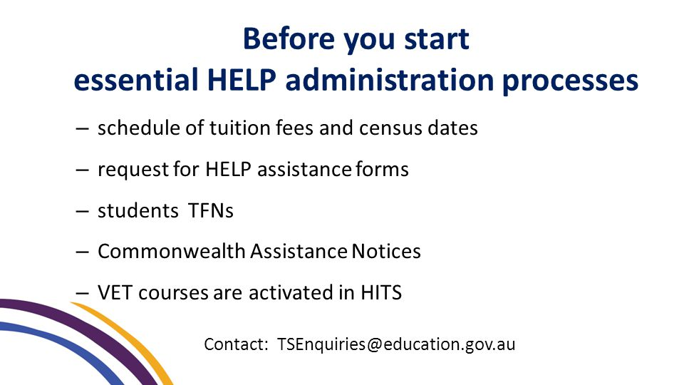 Before you start essential HELP administration processes – schedule of tuition fees and census dates – request for HELP assistance forms – students TFNs – Commonwealth Assistance Notices – VET courses are activated in HITS Contact: TSEnquiries@education.gov.au