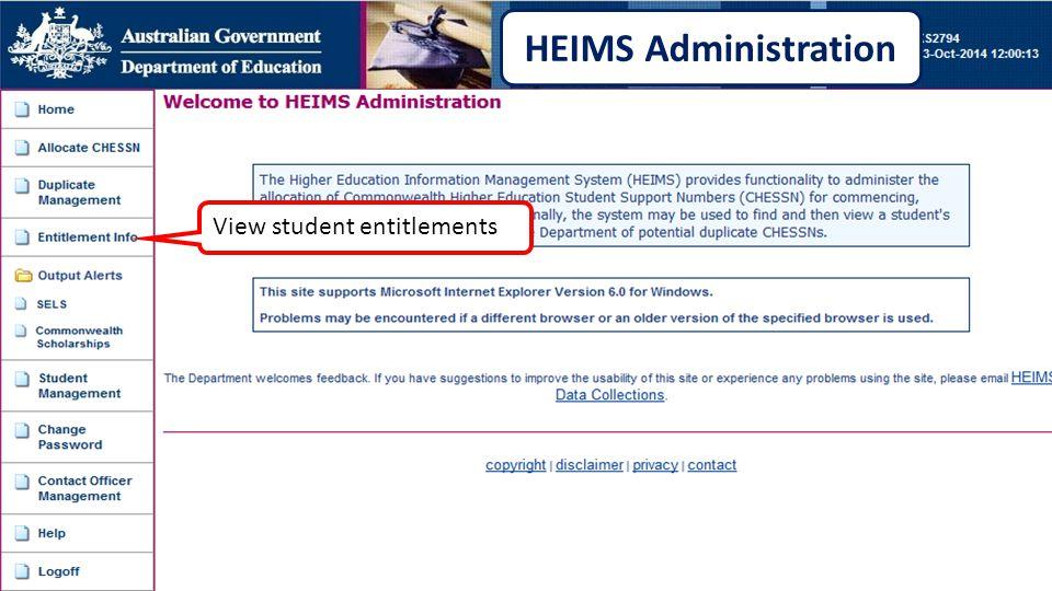 View student entitlements