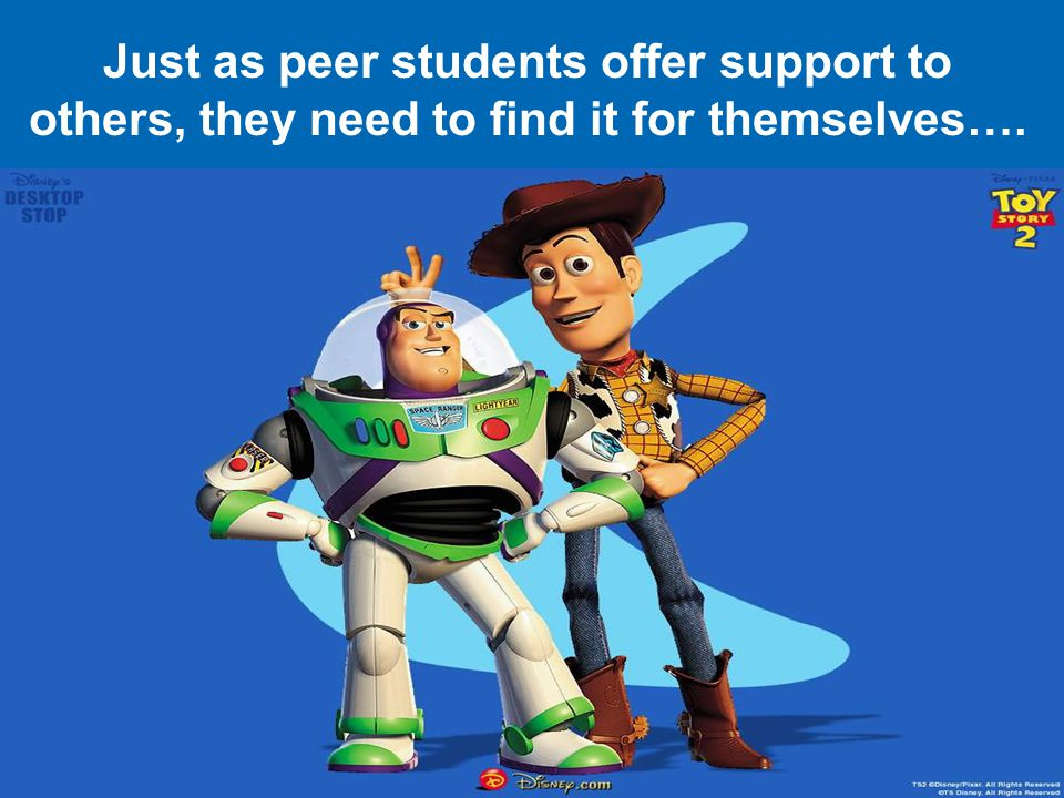Just as peer students offer support to others, they need to find it for themselves….