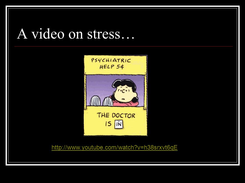 A video on stress… http://www.youtube.com/watch v=h38srxvt6qE