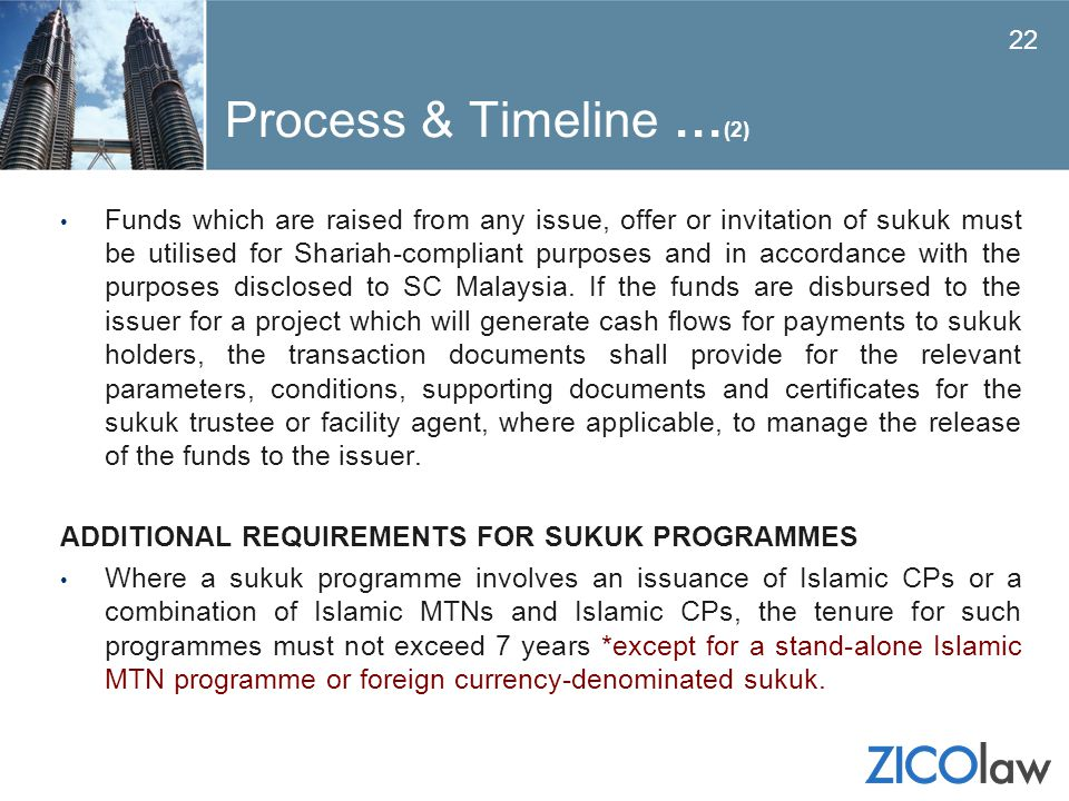 Process & Timeline … (2) Funds which are raised from any issue, offer or invitation of sukuk must be utilised for Shariah-compliant purposes and in ac