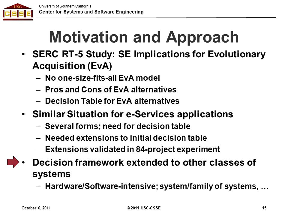 University of Southern California Center for Systems and Software Engineering Motivation and Approach SERC RT-5 Study: SE Implications for Evolutionary Acquisition (EvA) –No one-size-fits-all EvA model –Pros and Cons of EvA alternatives –Decision Table for EvA alternatives Similar Situation for e-Services applications –Several forms; need for decision table –Needed extensions to initial decision table –Extensions validated in 84-project experiment Decision framework extended to other classes of systems –Hardware/Software-intensive; system/family of systems, … October 6, 2011© 2011 USC-CSSE15