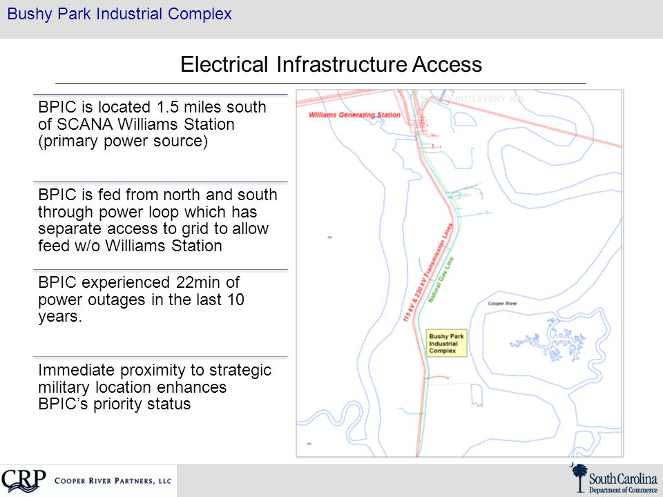 Bushy Park Industrial Complex Electrical Infrastructure Access BPIC is located 1.5 miles south of SCANA Williams Station (primary power source) BPIC i