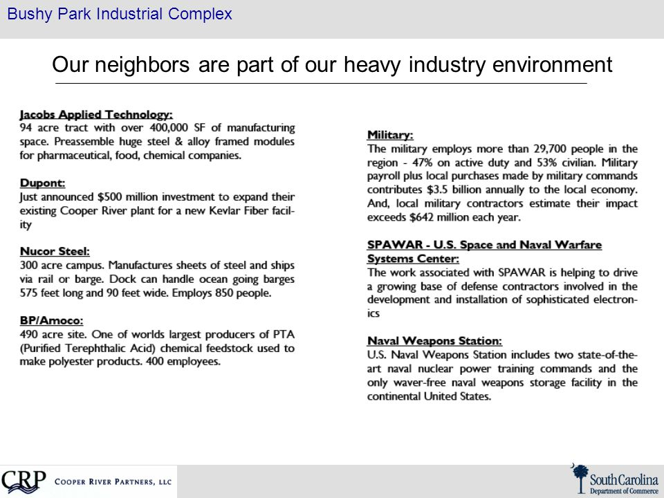 Bushy Park Industrial Complex Our neighbors are part of our heavy industry environment