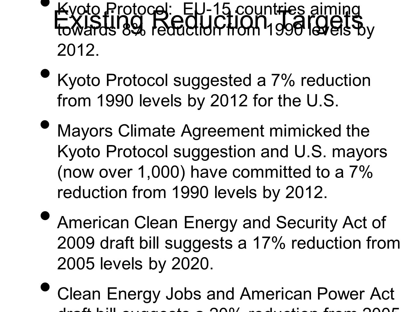 Existing Reduction Targets Kyoto Protocol: EU-15 countries aiming towards 8% reduction from 1990 levels by 2012.
