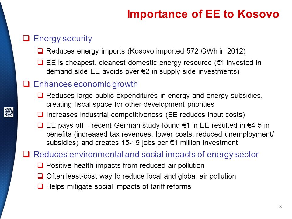 World Bank Experience with EE in Western Balkans  Recently implemented and planned projects total ~US$127 million for EE in public buildings  Energy savings typically 30-45% per building, payback periods ~6-8 years  Substantial co-benefits (improved comfort, urban renewal, public awareness, student education)  Willingness to co-finance  Lessons learned:  Limited replication of donor pilots and grants without sustainable funding mechanisms in place  Government project units orphaned after projects, loss of technical, implementation capacity  High energy cost savings means that projects can and should repay upfront investments  Difficult to scale-up; 20-30 buildings/year average 14