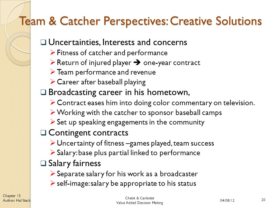Chelst & Canbolat Value Added Decision Making 04/08/12 20 Chapter 15 Author: Hal Stack Team & Catcher Perspectives: Creative Solutions  Uncertainties, Interests and concerns  Fitness of catcher and performance  Return of injured player  one-year contract  Team performance and revenue  Career after baseball playing  Broadcasting career in his hometown,  Contract eases him into doing color commentary on television.