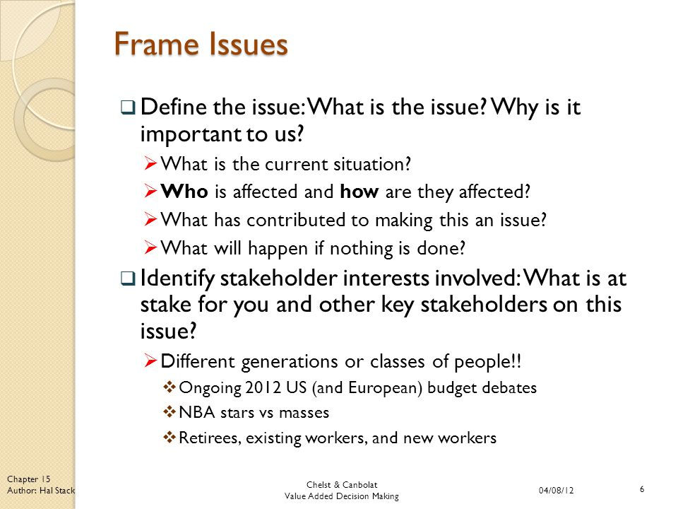 Chelst & Canbolat Value Added Decision Making 04/08/12 6 Chapter 15 Author: Hal Stack Frame Issues  Define the issue: What is the issue.