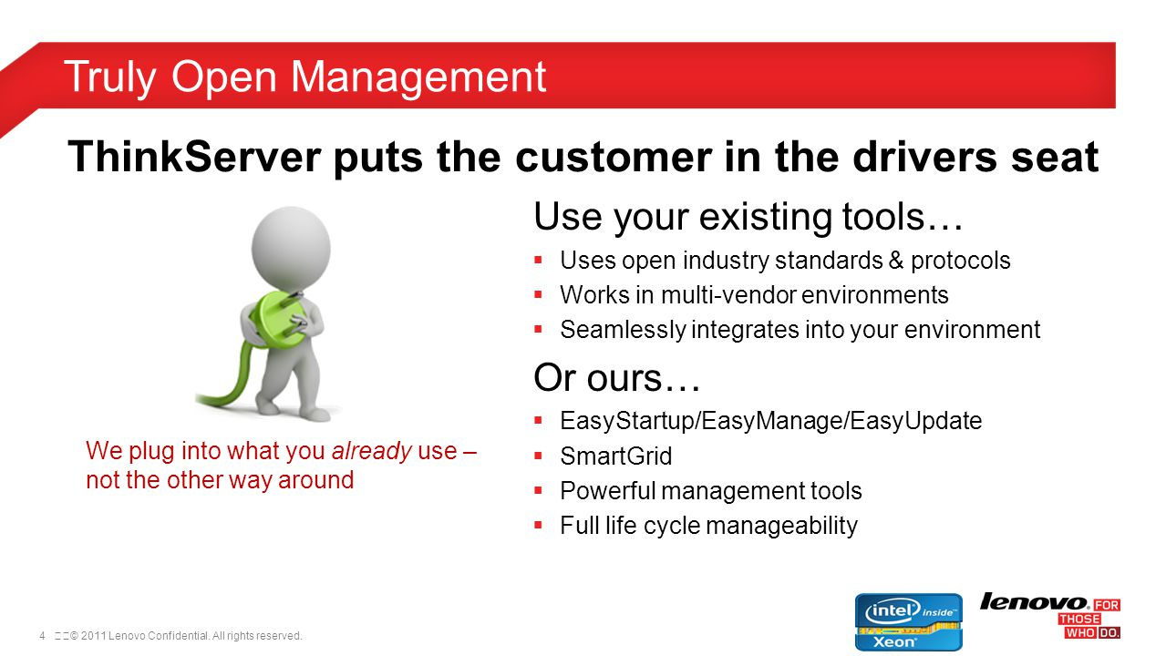 4© 2011 Lenovo Confidential. All rights reserved. Truly Open Management ThinkServer puts the customer in the drivers seat Use your existing tools… 