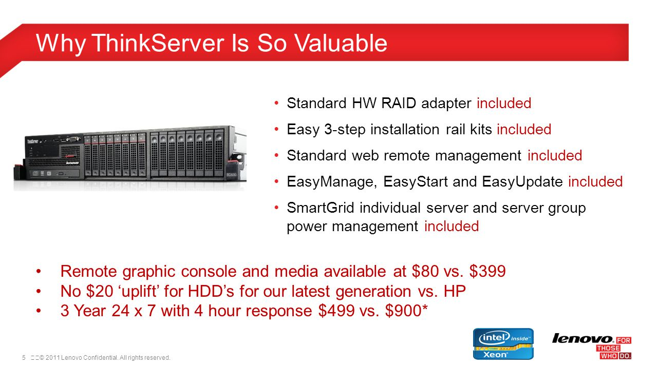 5© 2011 Lenovo Confidential. All rights reserved. Why ThinkServer Is So Valuable Standard HW RAID adapter included Easy 3-step installation rail kit