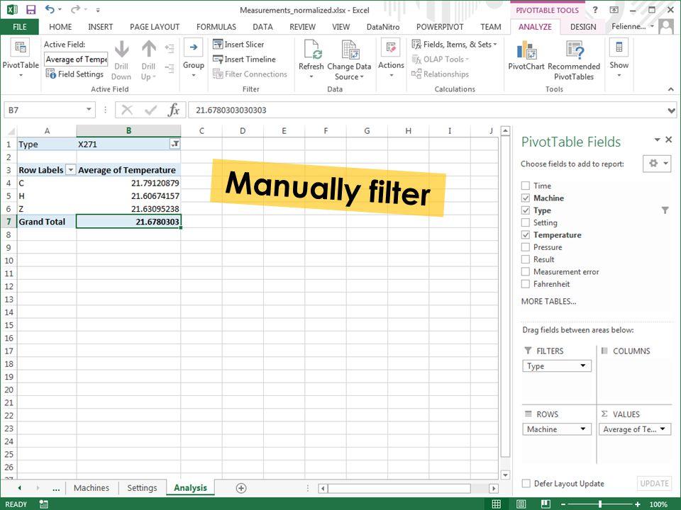 Manually filter