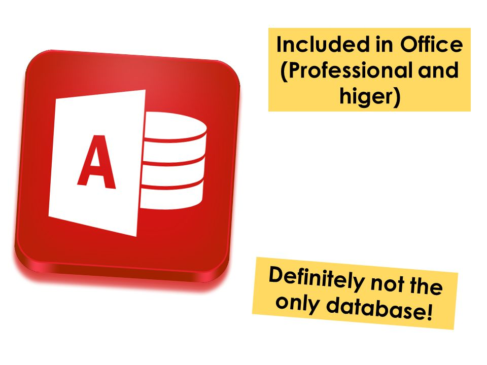 Included in Office (Professional and higer) Definitely not the only database!