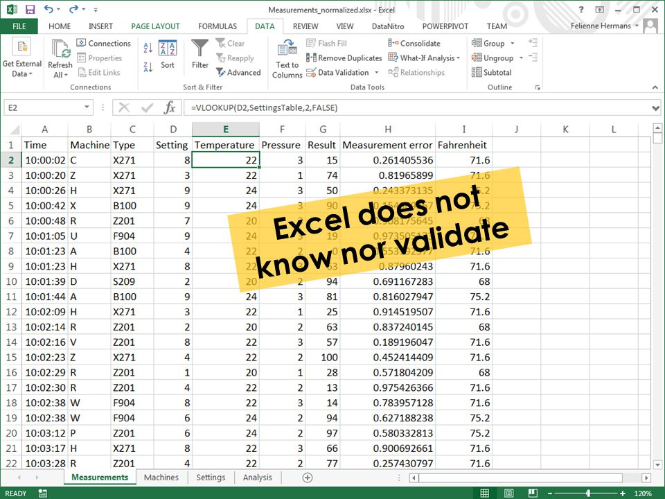Excel does not know nor validate