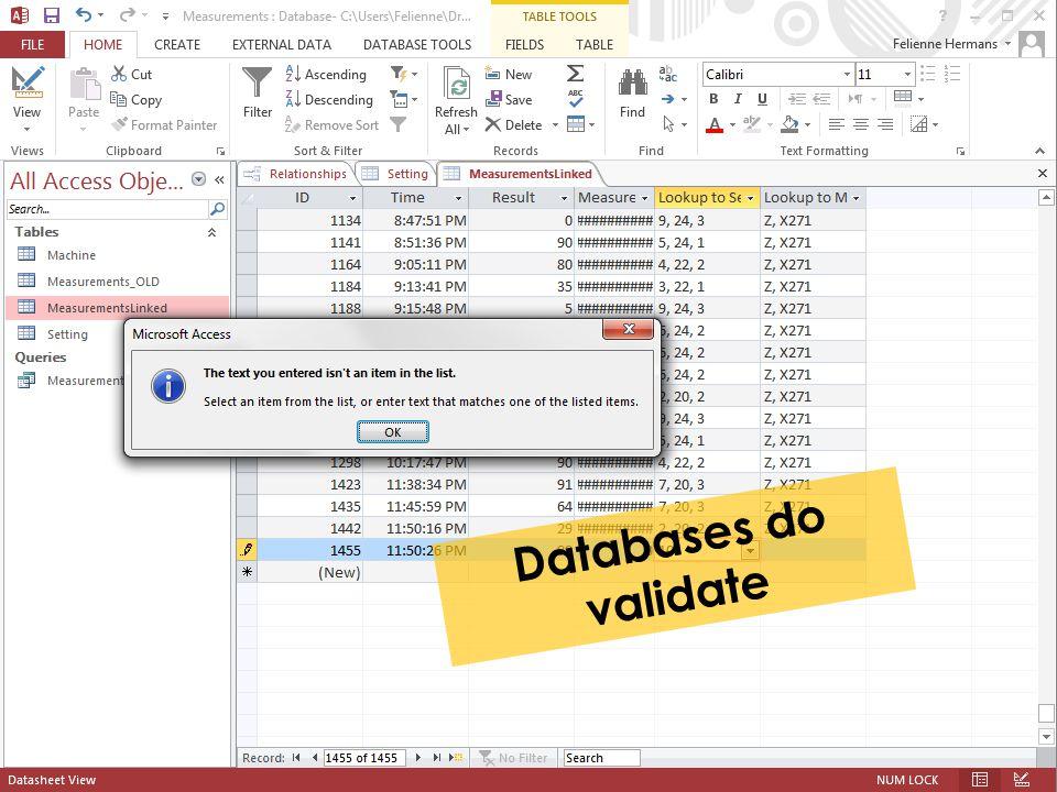 Databases do validate