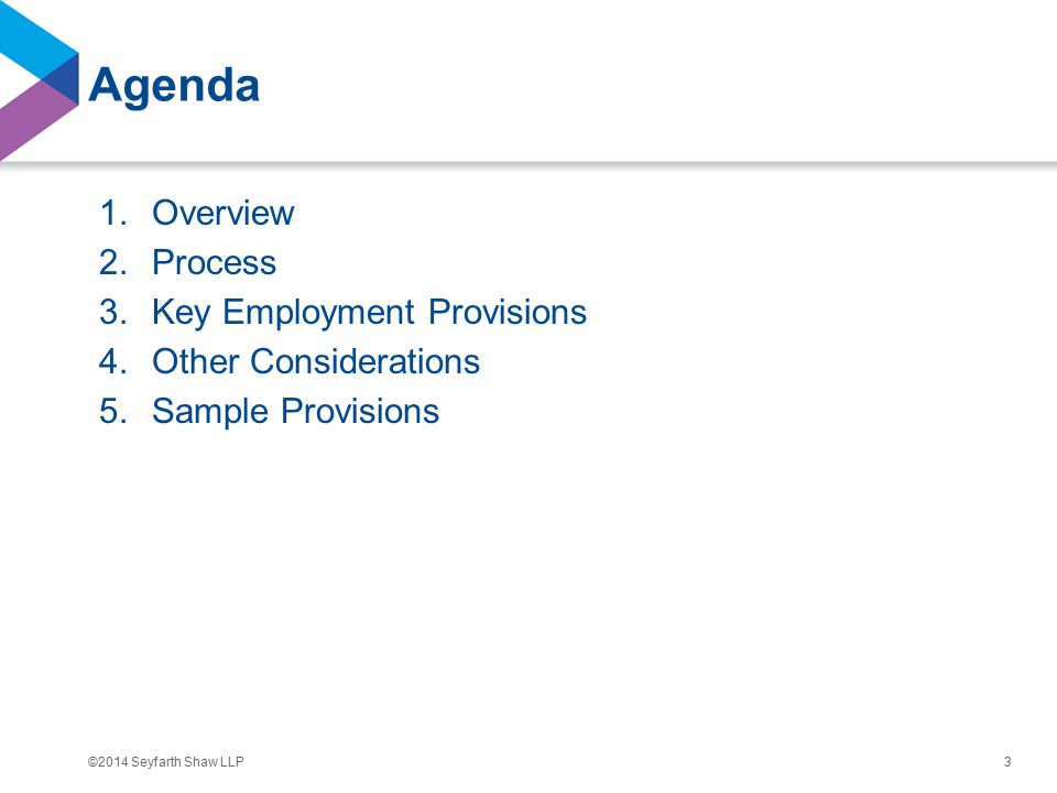 ©2014 Seyfarth Shaw LLP Agenda 1.Overview 2.Process 3.Key Employment Provisions 4.Other Considerations 5.Sample Provisions 3