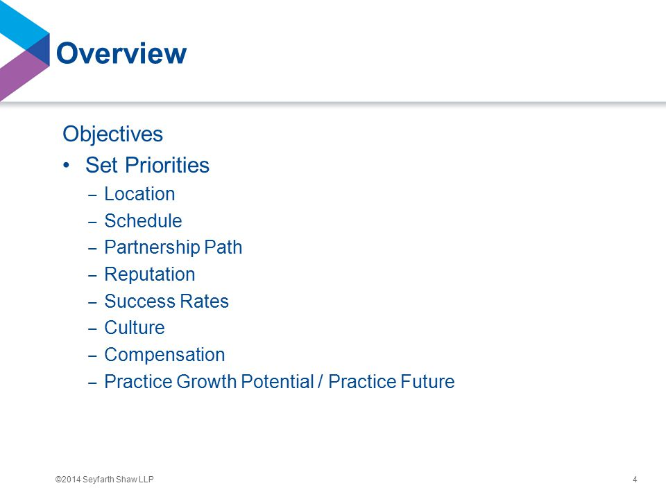 ©2014 Seyfarth Shaw LLP Overview Objectives Set Priorities ‒ Location ‒ Schedule ‒ Partnership Path ‒ Reputation ‒ Success Rates ‒ Culture ‒ Compensation ‒ Practice Growth Potential / Practice Future 4