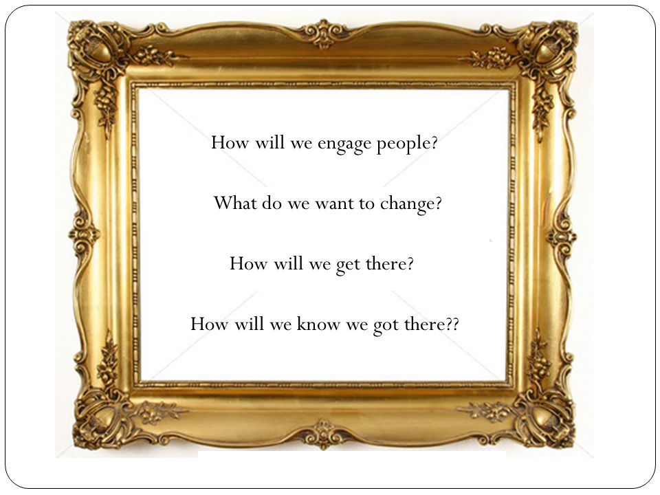 How will we engage people? What do we want to change? How will we get there? How will we know we got there??