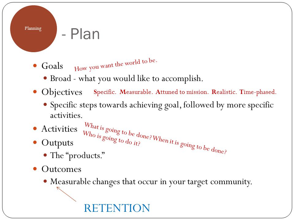 - Plan Planning Goals Broad - what you would like to accomplish. Objectives Specific steps towards achieving goal, followed by more specific activitie