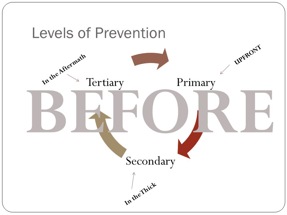 Levels of Prevention Primary Secondary Tertiary UPFRONT In the Thick In the Aftermath BEFORE