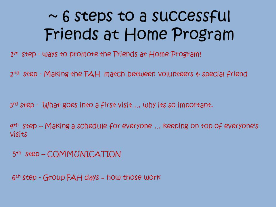 5 th step – COMMUNICATION None-responsive volunteers: They need to confirm that their updated schedules work for them.