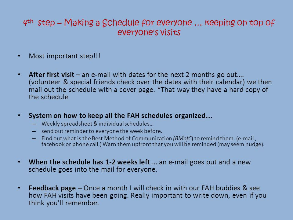 Most important step!!. After first visit – an e-mail with dates for the next 2 months go out….