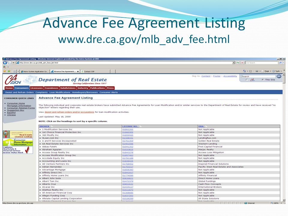 Advance Fee Agreement Listing www.dre.ca.gov/mlb_adv_fee.html