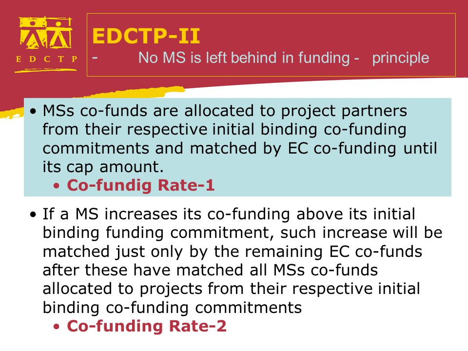 MSs co-funds are allocated to project partners from their respective initial binding co-funding commitments and matched by EC co-funding until its cap