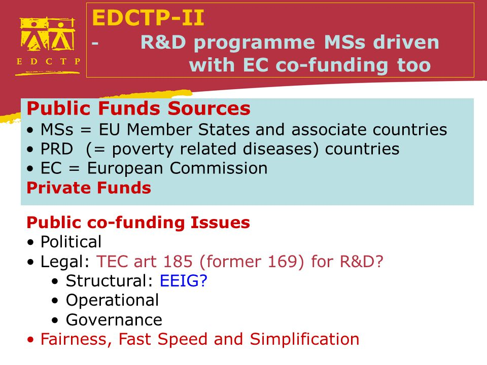Public Funds Sources MSs = EU Member States and associate countries PRD (= poverty related diseases) countries EC = European Commission Private Funds