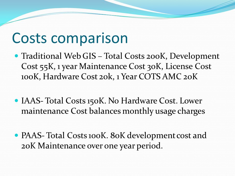 Costs comparison Traditional Web GIS – Total Costs 200K, Development Cost 55K, 1 year Maintenance Cost 30K, License Cost 100K, Hardware Cost 20k, 1 Year COTS AMC 20K IAAS- Total Costs 150K.