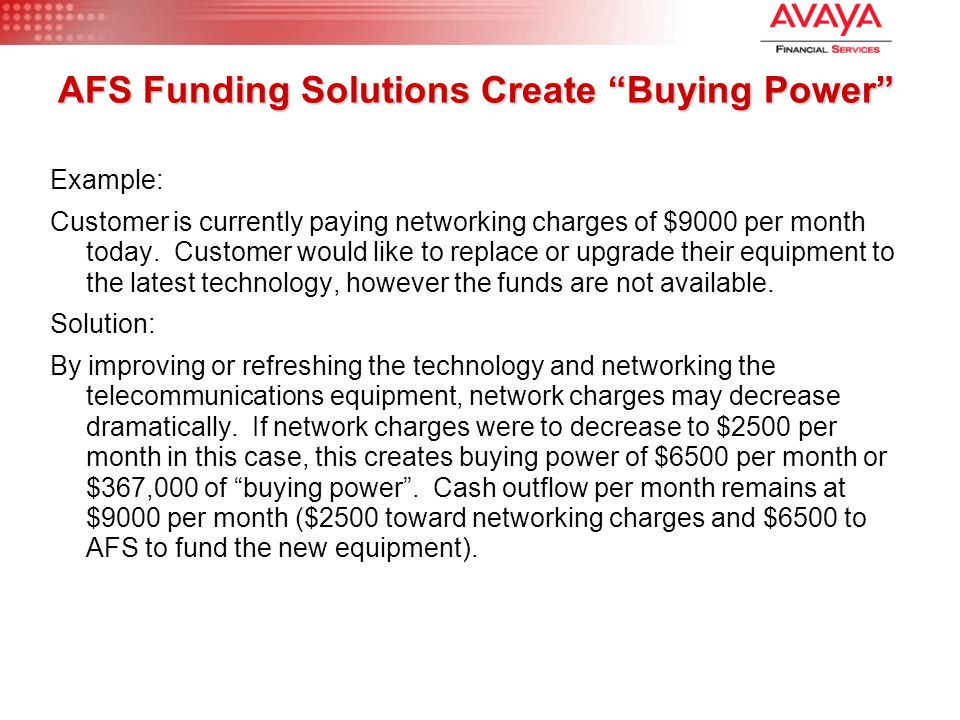 "AFS Funding Solutions Create ""Buying Power"" Example: Customer is currently paying networking charges of $9000 per month today. Customer would like to"