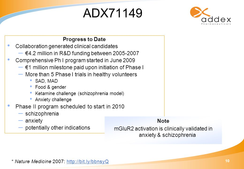 10 Progress to Date Collaboration generated clinical candidates – €4.2 million in R&D funding between 2005-2007 Comprehensive Ph I program started in