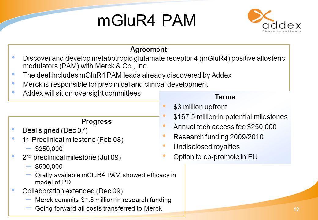 12 Progress Deal signed (Dec 07) 1 st Preclinical milestone (Feb 08) – $250,000 2 nd preclinical milestone (Jul 09) – $500,000 – Orally available mGlu
