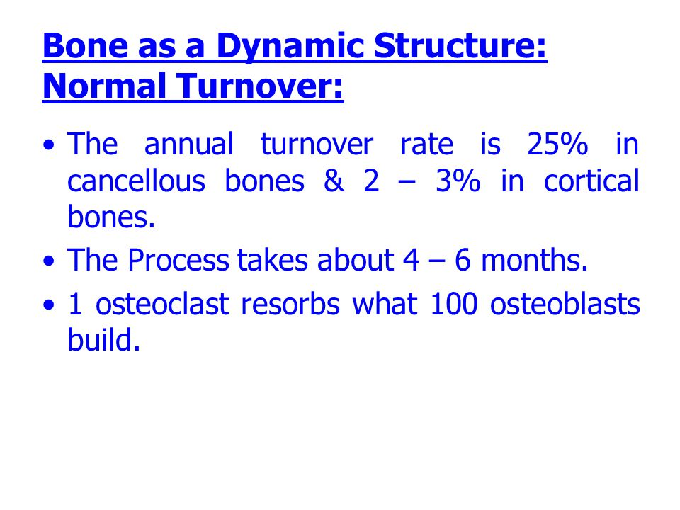 The annual turnover rate is 25% in cancellous bones & 2 – 3% in cortical bones. The Process takes about 4 – 6 months. 1 osteoclast resorbs what 100 os