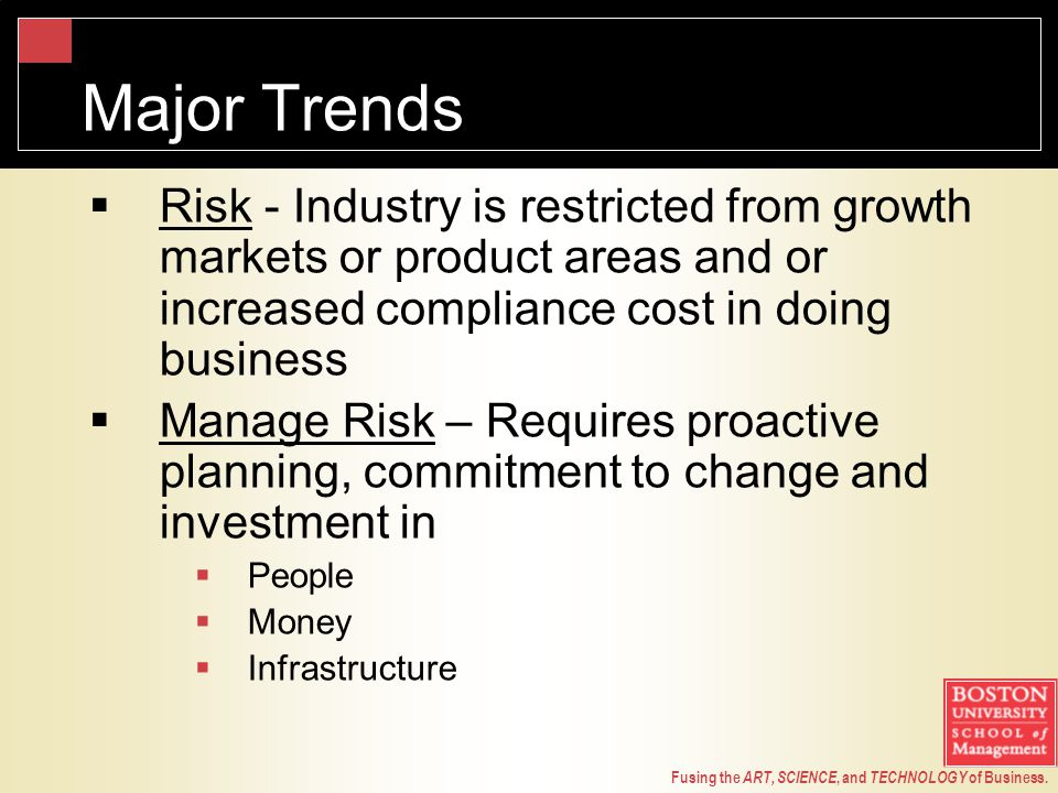 Fusing the ART, SCIENCE, and TECHNOLOGY of Business. Major Trends  Risk - Industry is restricted from growth markets or product areas and or increase