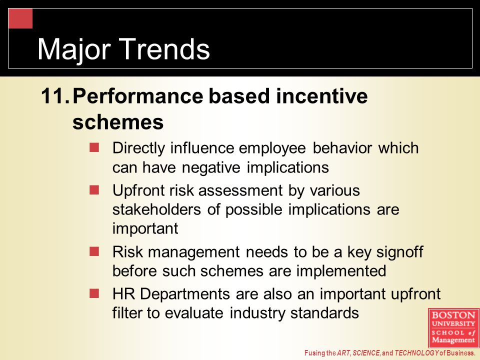 Fusing the ART, SCIENCE, and TECHNOLOGY of Business. Major Trends 11.Performance based incentive schemes Directly influence employee behavior which ca
