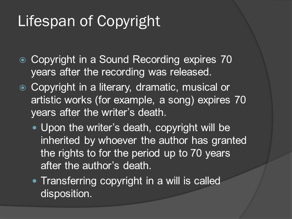  Copyright in a Sound Recording expires 70 years after the recording was released.  Copyright in a literary, dramatic, musical or artistic works (fo
