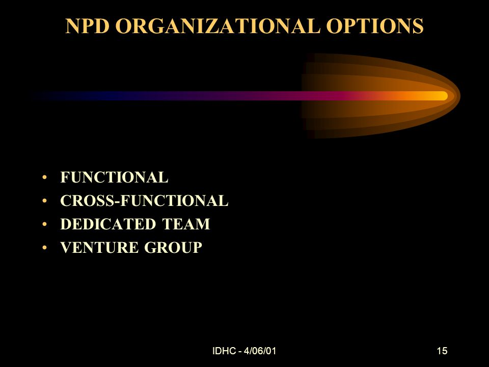 IDHC - 4/06/0115 NPD ORGANIZATIONAL OPTIONS FUNCTIONAL CROSS-FUNCTIONAL DEDICATED TEAM VENTURE GROUP