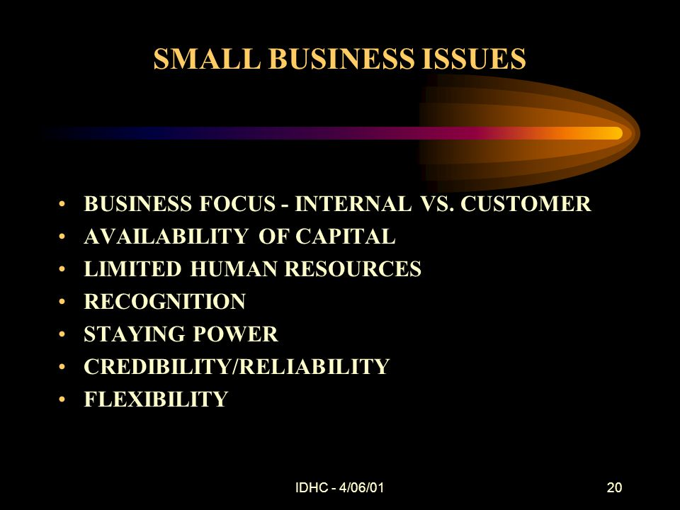 IDHC - 4/06/0120 SMALL BUSINESS ISSUES BUSINESS FOCUS - INTERNAL VS.