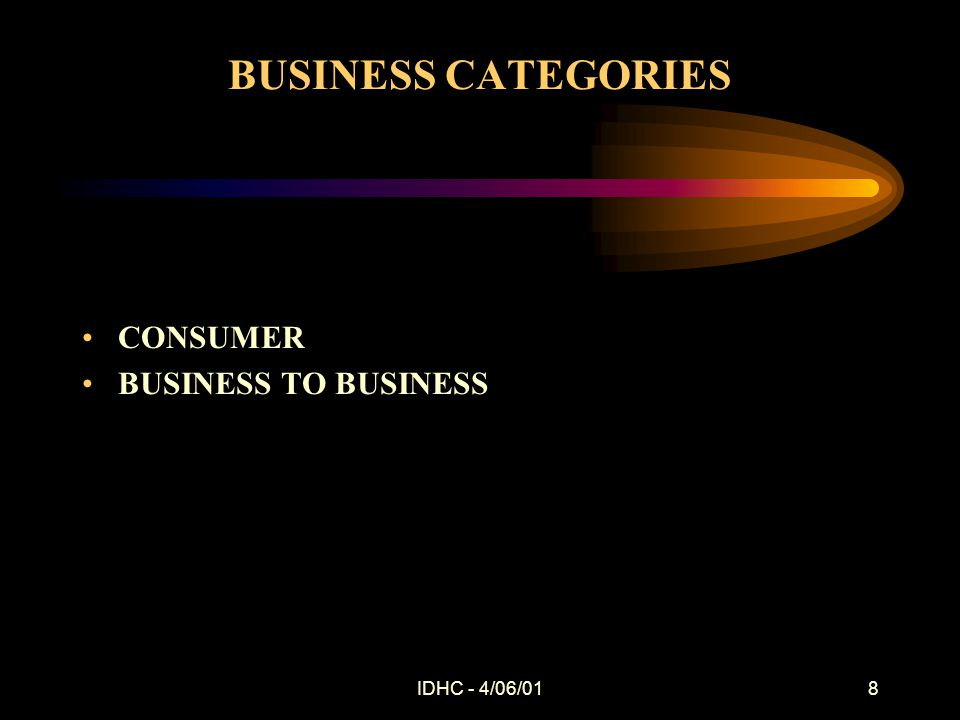 IDHC - 4/06/018 BUSINESS CATEGORIES CONSUMER BUSINESS TO BUSINESS