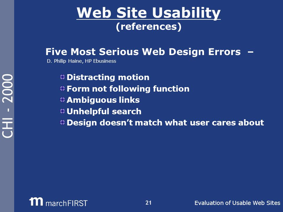 CHI - 2000 21 Web Site Usability (references) Five Most Serious Web Design Errors – D.