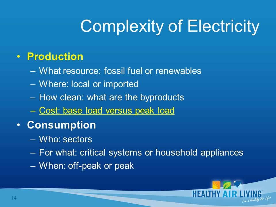 14 Complexity of Electricity Production –What resource: fossil fuel or renewables –Where: local or imported –How clean: what are the byproducts –Cost: base load versus peak load Consumption –Who: sectors –For what: critical systems or household appliances –When: off-peak or peak